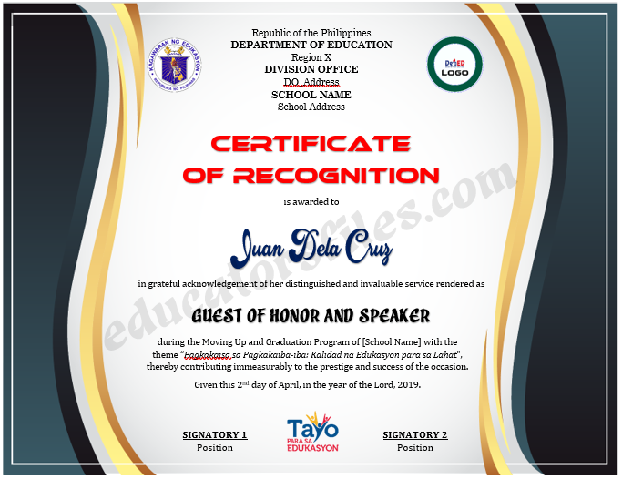 certificate of recognition for guest of honor  u0026 speaker