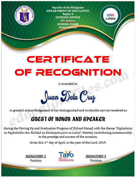 Certificate of Recognition for Guest of Honor & Speaker ...